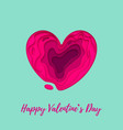 valentines day card with papercut heart on white vector image
