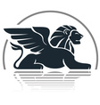 Winged lion silhouette vector image vector image