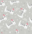 winter seamless pattern with cute cats vector image vector image