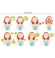 woman mask her face with natural facial mask set vector image
