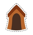 wooden house dog pet line dotted vector image vector image