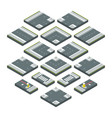 isometric city elements road grass and crossroads vector image