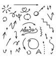 set of arrows hand drawn doodle design element vector image