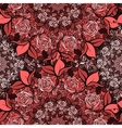 Seamless pattern with roses in circlescute red vector image