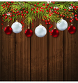 Christmas card with green fir branch vector image