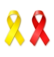 Cancer Awareness Red and Yellow Ribbons vector image