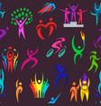 people logo sport fitness logotype vector image