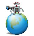 A robot with a telescope above the planet earth vector image vector image
