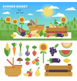 basket full of fresh fruits and vegetables vector image vector image