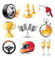 car racing icons set vector image vector image