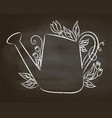 chalk contour of watering can on chalk board vector image vector image
