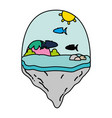 color mountain and exotic fishes in the float vector image vector image