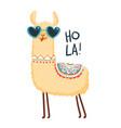 cute lama character print for fabric t-shirt vector image
