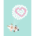Cute lovely couple boy and girl with balloons cart vector image