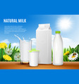 dairy packaging realistic composition vector image vector image