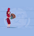 female chef cook holding turkey cartoon chief in vector image vector image