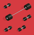 flat design elements for gym and fitness in 3d vector image vector image