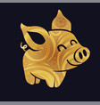 golden pig silhouette little vector image