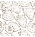 Hand drawing seashell seamless vector image