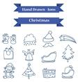 Hand drawn Christmas icons set vector image