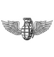 hand grenade in black white colors with wing vector image vector image