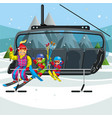 happy cartoon family riding in ski lift vector image vector image
