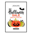 happy halloween sale poster with cute glamorous vector image vector image