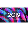 happy new year 2019 festive poster with abstract vector image vector image