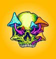 head skull mushrooms vector image vector image
