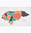 honduras map with states and modern round shapes vector image
