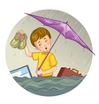 Little cartoon boy who suffers from flood eps10 vector image vector image