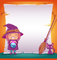 little witch with black kitten and broom happy vector image vector image