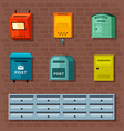 mailboxes set red container for paper vector image