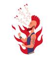man listening to music hand dancing cartoon vector image