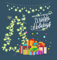 merry bright winter holidays vector image