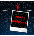 Merry Christmas card with picture over night sky vector image vector image