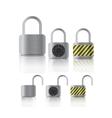 metal securite locked and unlocked padlockers vector image vector image