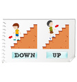 Opposite adjectives down and up vector image vector image
