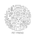 pet friend in circle - concept line vector image