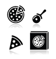 Pizza icons set with reflections vector image vector image