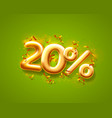 sale 20 off ballon number on green background vector image vector image