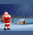 santa cartoons carry large bagsbackground scenery vector image