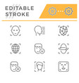 set line icons face id vector image vector image