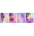 set palm trees backgrounds vector image vector image