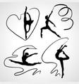 silhouettes gymnastic girls art gymnastics vector image vector image