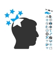 Stars Hit Head Icon With Copter Tools Bonus vector image vector image