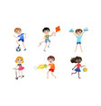 summer kids outdoor activities set boys and girls vector image vector image
