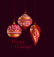 traditional red and gold xmas baubles vector image