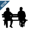 two elderly people silhouettes sitting on a park vector image vector image