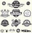 Retro Race Car Champion Labels vector image